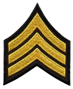 Sergeant Chevrons, Medium Gold on Black